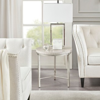 """Madison Home USA Boca Silver/Cream Real Marbel Round End Table Metal Base - dia20"""" x 20.25""""h"""