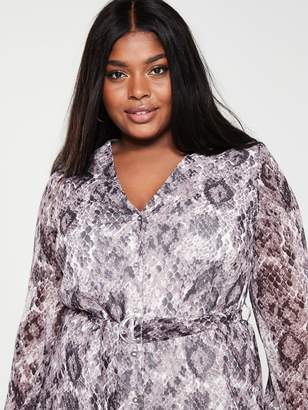 V By Very Curve Button Front Midaxi Dress -Snake Print