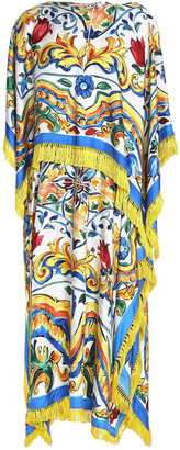 Dolce & Gabbana Fringed Printed Twill And Silk-blend Midi Dress