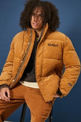 Kickers Brown Corduroy Puffer Jacket - Brown M at Urban Outfitters