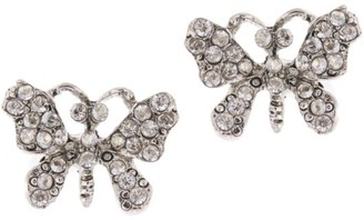 Oscar de la Renta Crystal Pave Silvertone Butterfly Stud Earrings