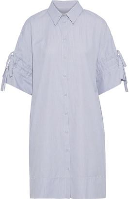 Victoria Victoria Beckham Tie-detailed Striped Cotton-poplin Shirt Dress