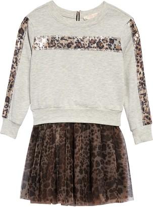 Truly Me Leopard Detail Two-Piece Tutu Dress