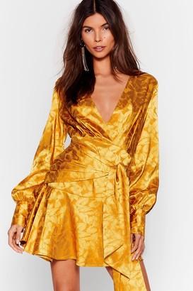 Nasty Gal Womens Sleek It Real Jacquard Mini Dress - Yellow - 10