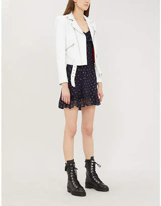 The Kooples Padded-shoulders cropped leather jacket