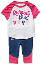 Under Armour Baby Girls 12-24 Months Running This Game Color Block Raglan Short-Sleeve Tee & Leggings Set