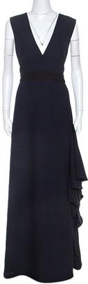 Monique Lhuillier Midnight Blue Crepe Sleeveless Dress L