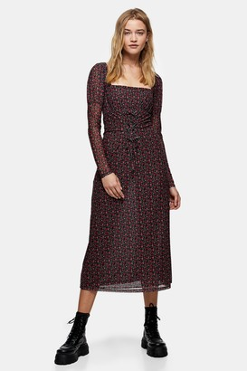Topshop Womens Red Rose Print Lace Long Sleeve Midi Dress - Red