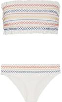 Tory Burch Costa Smocked Bandeau Bikini - White