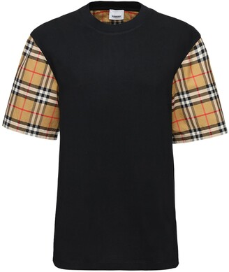 Burberry Serra Cotton T-shirt W/ Check Sleeves