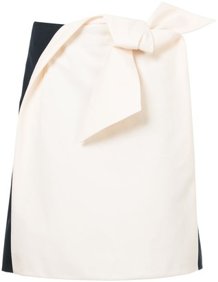 DELPOZO Origami-Bow Two-Tone Skirt
