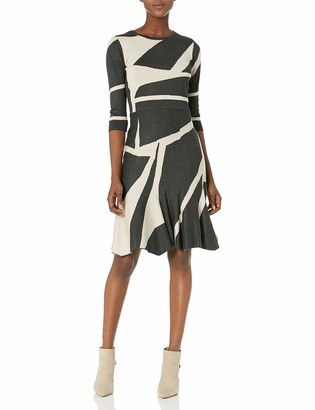 Gabby Skye Women's 3/4 Sleeve Round Neck Geometric Print Fit and Flare Sweater Dress