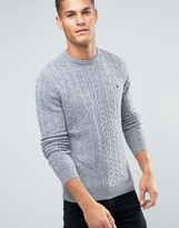 Jack Wills Merino Jumper In Cable Grey Marl
