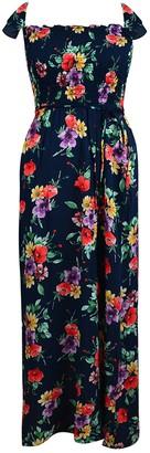 Velvet Torch Floral Smocked Off the Shoulder Maxi Dress
