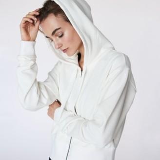 The White Company Organic Cotton Boxy Zip-Up Hoodie, White, Large