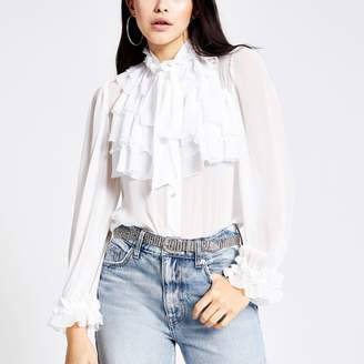 River Island Womens White long sleeve ruffle front blouse