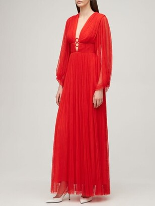 Maria Lucia Hohan V Neck Pleated Tulle Long Dress