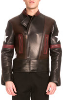 Givenchy Star Colorblock Leather Biker Jacket