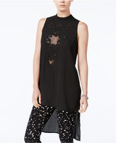 Bar III Fishnet-Trim High-Low Tunic, Only at Macy's