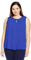 Ellen Tracy Women's Plus-Size Pleat Front Keyhole Shell