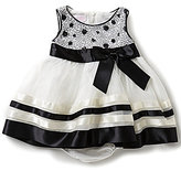 Bonnie Jean Bonnie Baby Baby Girls Newborn-24 Months Sequin-Embellished Mesh Bodice Ribbon-Trimmed-Skirted Dress