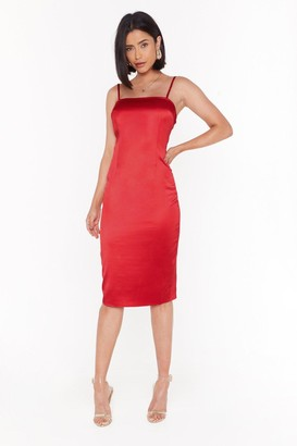 Nasty Gal Womens The First to Dance Fitted Satin Dress - red - 4