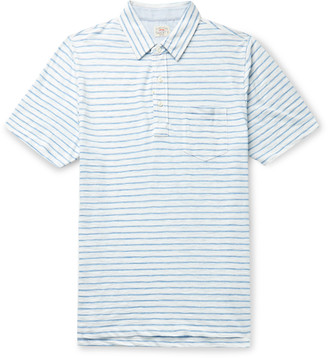 Faherty Chambray-Trimmed Melange Cotton-Blend Jersey Polo Shirt