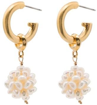 Brinker & Eliza gold-plated Greta pearl drop hoop earrings