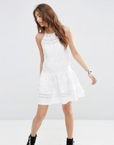 Asos Cotton Mini Sundress With Lace Inserts