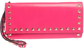 Valentino Neon Pink Leather Rockstud Wristlet Flap Clutch