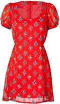 Red Floral Belted Dress