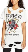 Jaded London Women's Oversized Printed Ripped Rock T-Shirt,(Manufacturer Size:Small)