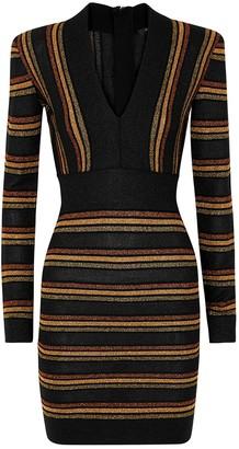 Balmain Striped metallic-knit mini dress