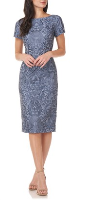 JS Collections Floral Embroidered Cocktail Dress