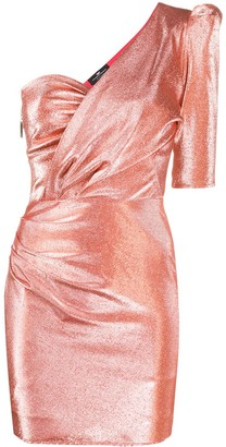 Elisabetta Franchi Metallic Threaded One-Shoulder Dress