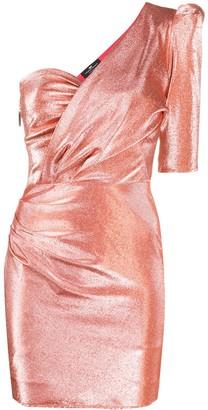 Elisabetta Franchi Metallic Threaded One-Shoulder Dress