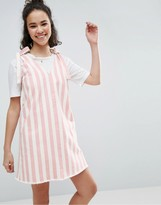 Asos Denim Dress in Pink and White Stripe With Tie Strap