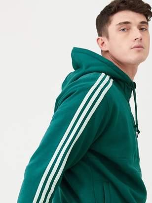 adidas 3 Stripe Half Zip Hoodie - Green