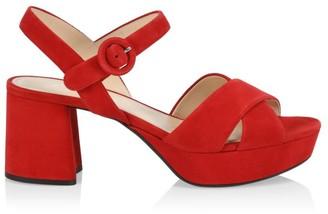 Prada Crisscross Suede Platform Sandals