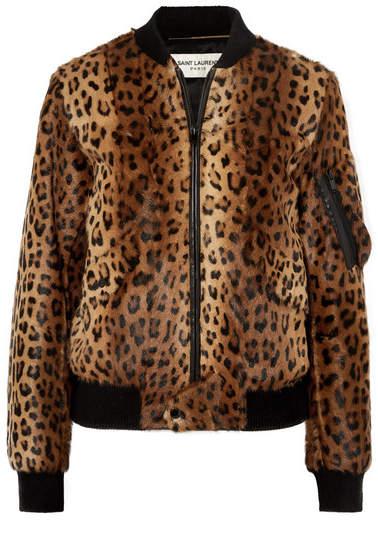 Saint Laurent Leather-trimmed Leopard-print Goat Hair Bomber Jacket - Brown