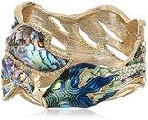 Betsey Johnson Abalone Fish Hinged Bangle Bracelet