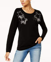 INC International Concepts Anna Sui Loves Embellished Star Sweater, Created for Macy's
