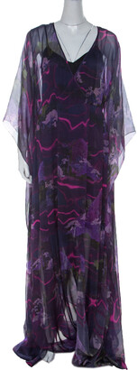Matthew Williamson Purple Printed Silk Long Folded Hemline Kaftan Dress M