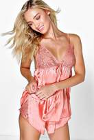boohoo Evie Boutique Lace Trim Babydoll Vest + Short Set coral