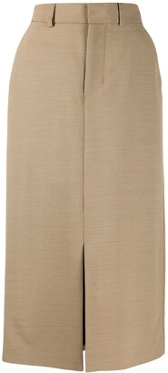 Ami Front Slit Straight Skirt