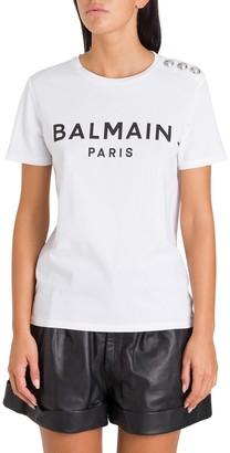Balmain Logo Tee With Buttons