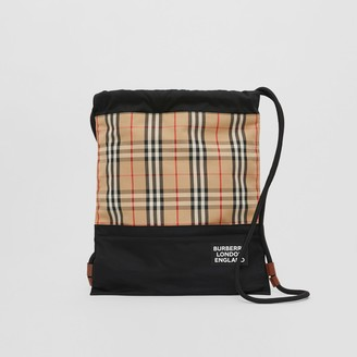 Burberry Vintage Check Panel Drawcord Backpack