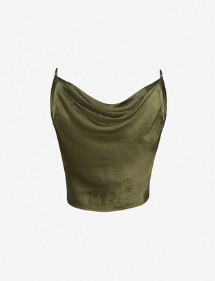 Bec & Bridge Delphine cropped sleeveless satin top
