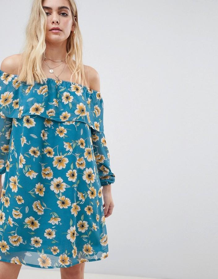 Glamorous floral off shoulder dress-Blue