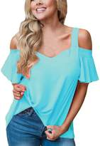 SEBOWEL Women's Cold Shoulder Cut Out Ruffle Sleeve Asymmetric Hem Blouse Top T-shirt